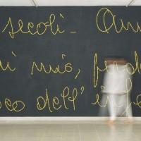 Mammina e Io - 2003, das piombo acrilico fluorescente e parete nera, cm. 300x450