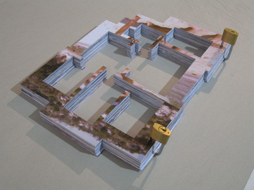 Homebook - 2007, libro d'artista, fotografie ritagliate, lucchetti, cm. 30x40x7
